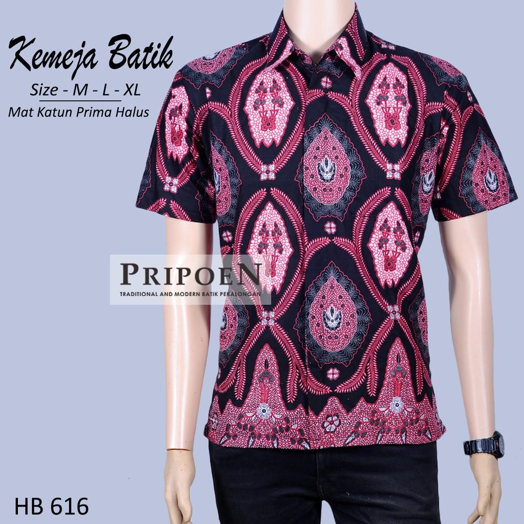 Pripoen Batik HB616 - KEMEJA BATIK PRIA PINK HITAM  78aaf4431c