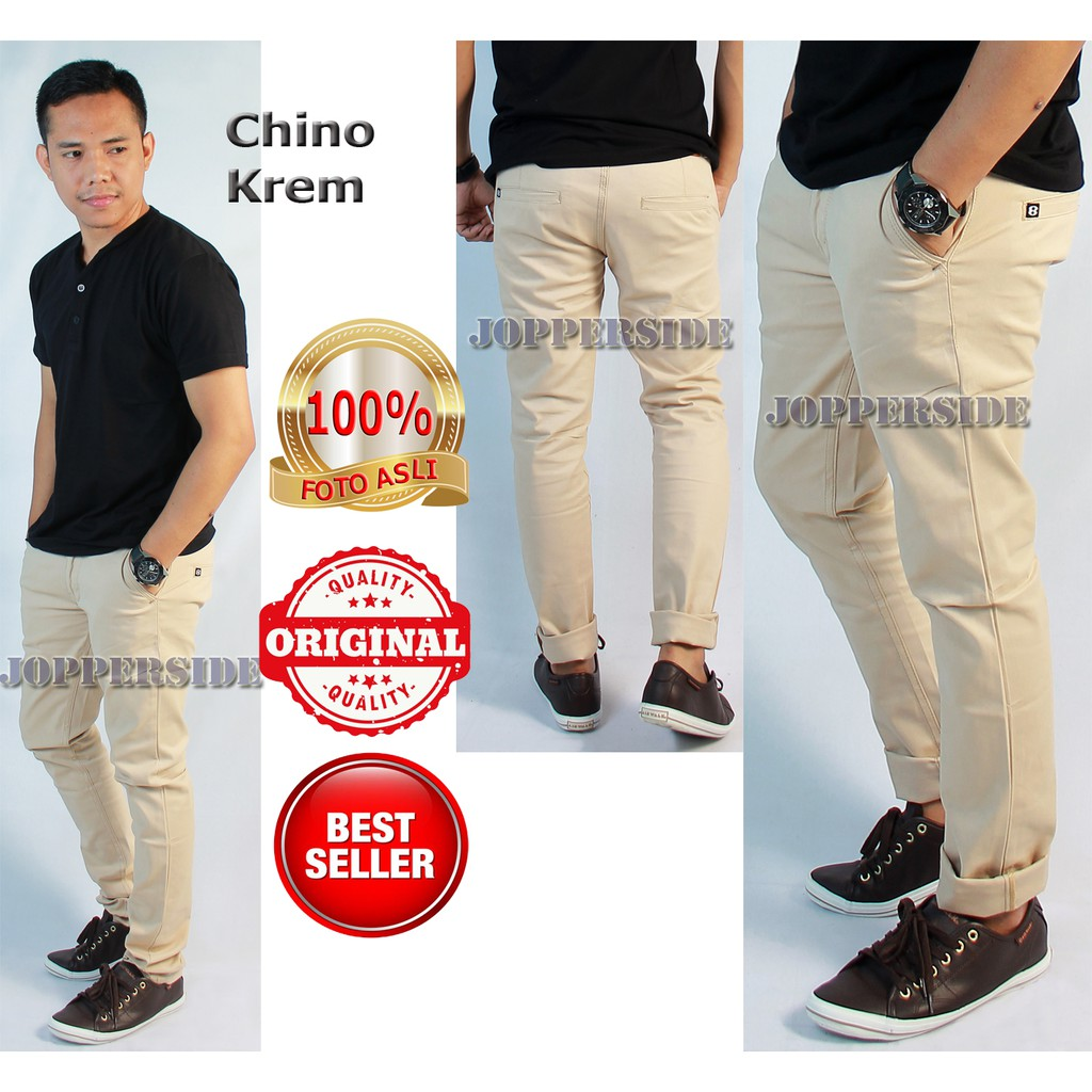 JOPPERSIDE Celana PANJANG Chino PRIA 100% Orginal Premium CREAM KREM CELANA KANTOR SANTAI | Shopee Indonesia