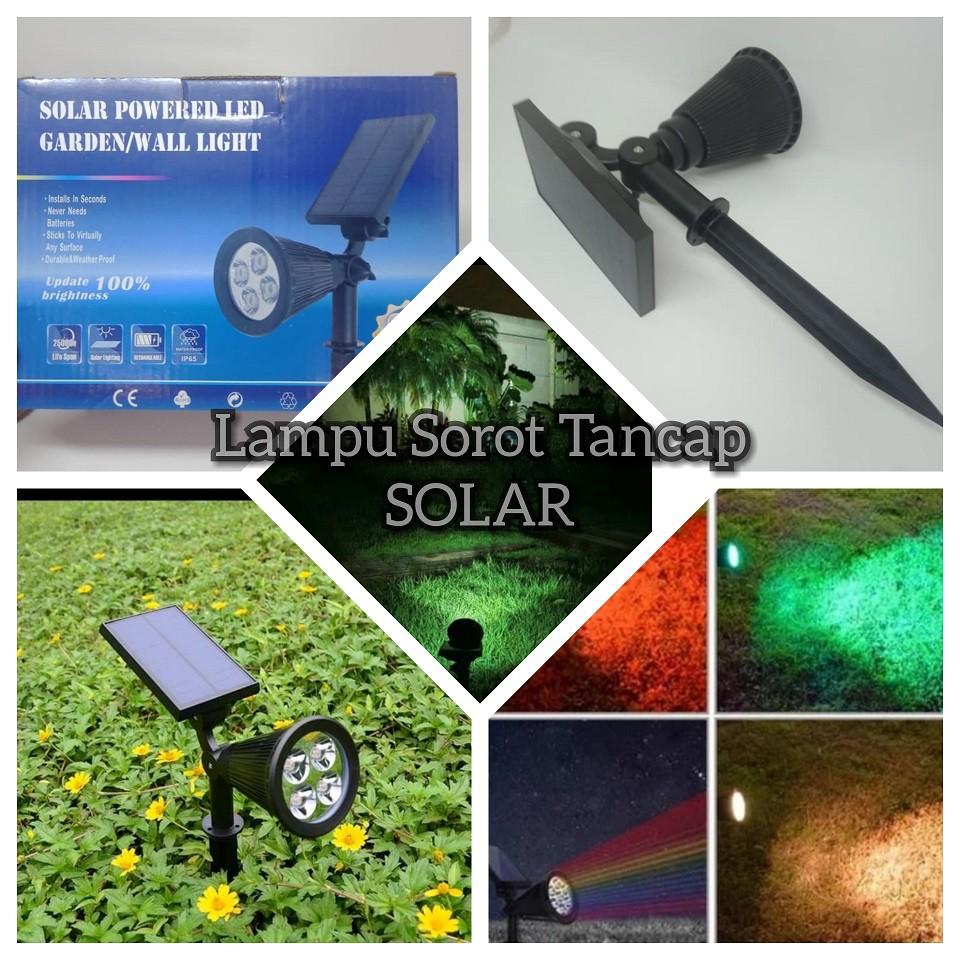 Lampu Sorot Spot Tancap Dinding Taman Solar Power Tenaga Matahari Ip65 Shopee Indonesia