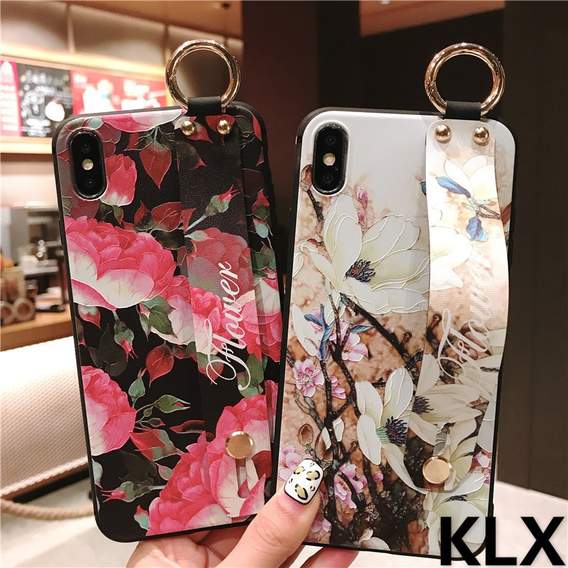 VIVO X7 X9 X9S X20 Plus X21 UD X21i X23 3D Relief Flower Wristband Soft Cover