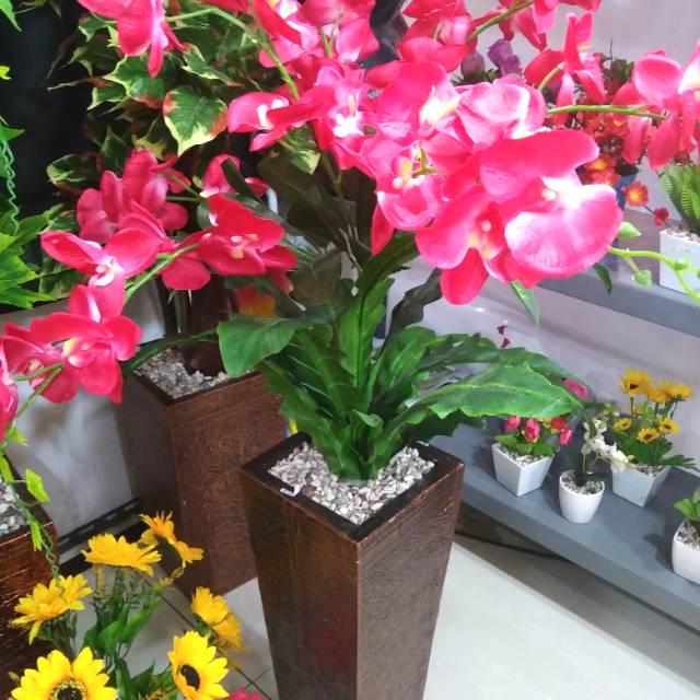 Pohon Anggrek Tangkai 7 Bunga Hias Plastik Tanaman Artificial Dekorasi Shopee Indonesia
