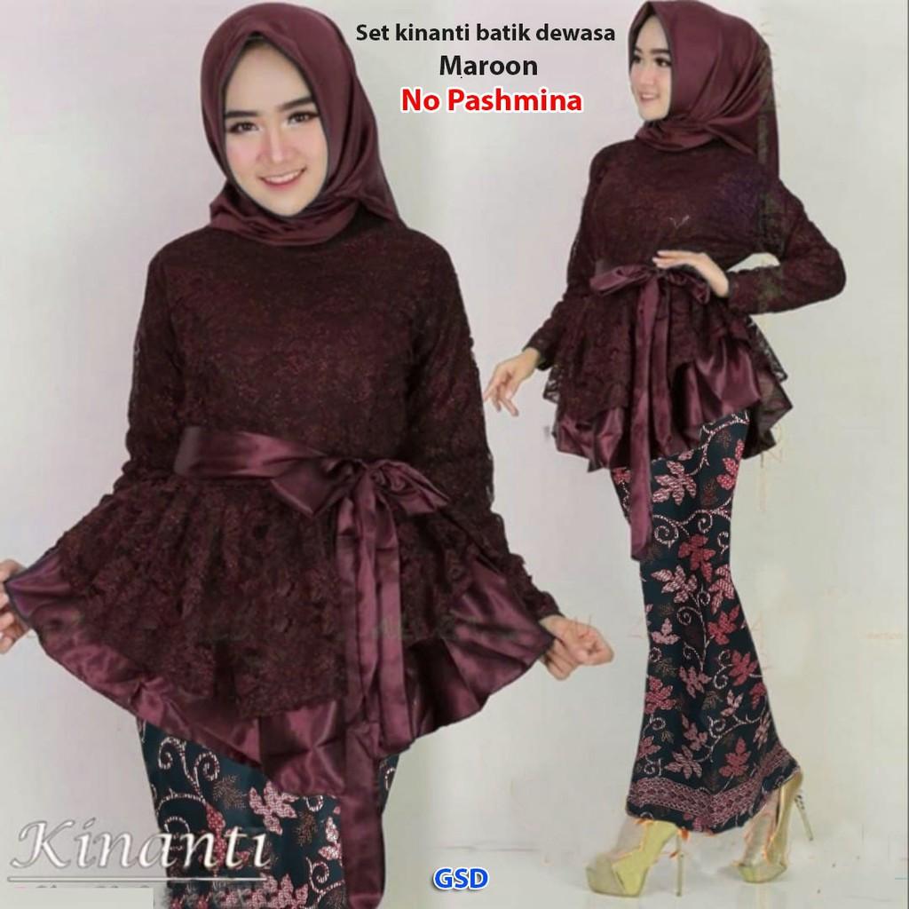 Setelan kebaya batik wanita modern kombinasi blus brokat dan rok batik  elegant / Set Kinanti batik