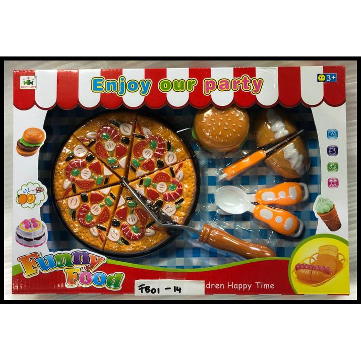 Mainan Funny Food Pizza Burger Hotdod Cutting Rex928g Shopee Indonesia