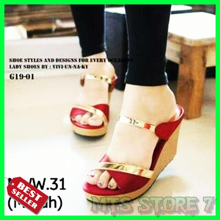0cf26404ad9 D02 Women Wedges Sandal 7cm - Sandal Wanita Wedges 7 Cm HITAM PEACH TAN  CREAM CAMEL