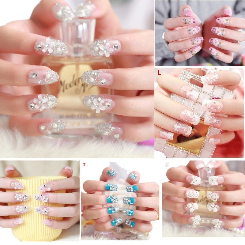 Nail Art Tangan: [Bayar Di Tempat] 24pcs Kuku Palsu 3D Nikah Wedding False