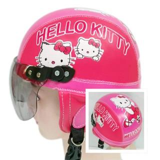 Helm Anak Unyu-unyu Model Retro Karakter Hello Kitty [1 - 5 Tahun] - Merah Pink