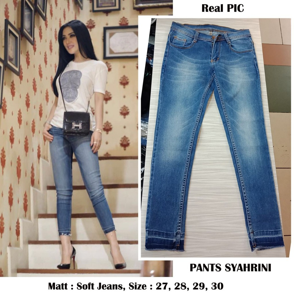 Best Seller Celana Jeans Syahrini Stretch Skinny Softjeans Termurah Pensil Polos Black Jsk9100 Size 27 38 Shopee Indonesia