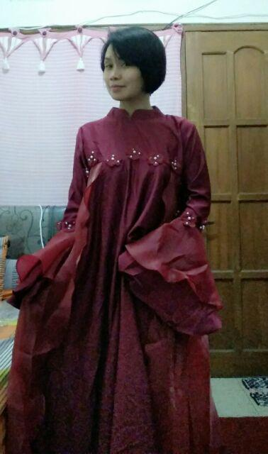 Gamis Pesta Mewah Dress Organza Premium Nadzla Shopee Indonesia