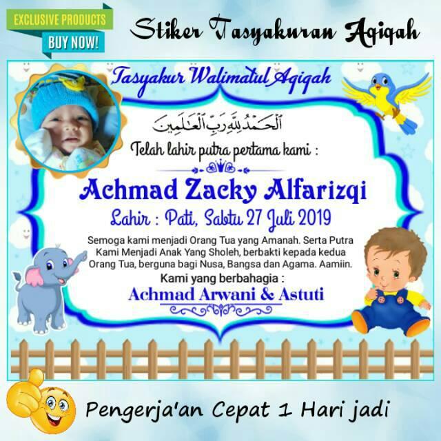 Terlaris Stiker Ucapan Aqiqah Anak Full Warna Free Kaos Kaki Bayi