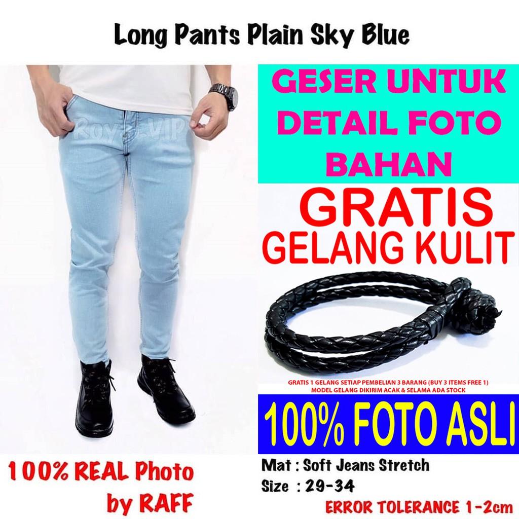 Celana Panjang Soft Jeans Biru Terang Muda ROYALVIP PRIA MURAH BAGUS PREMIUM IMPORT PROMO GRATIS