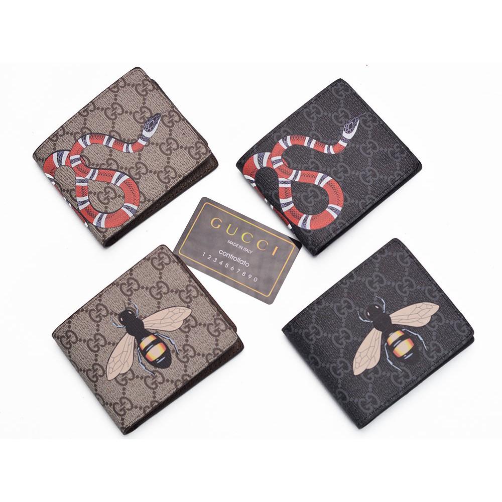 Box + Dompet Cowok Pendek Gucci Bi-Fold Supreme GG Print Snake Ular Premium  KULIT ASLI ORI LEATHER  b36194f6e8