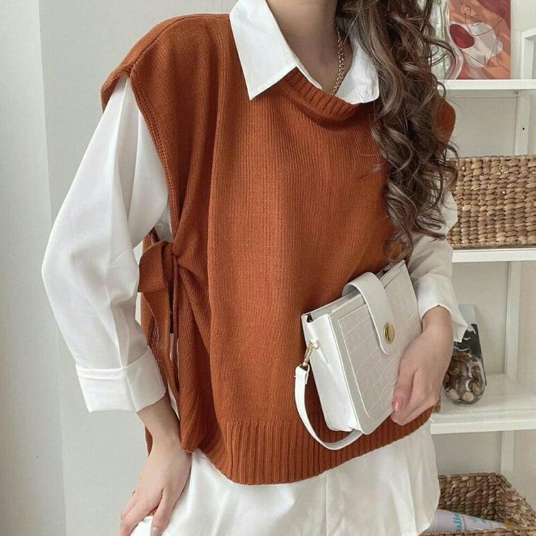 ART. 597371] Vest Knit Tali,Vest Rajut Tali,Rompi Rajut dan Kemeja Putih by  Beautylady.store   Shopee Indonesia