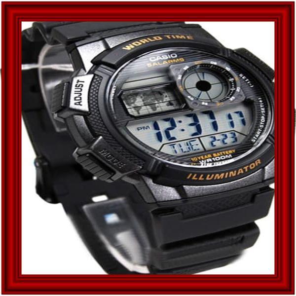 Casio World Time Ae1000w 1avdf Digital Jam Tangan Pria Rubber Strap .