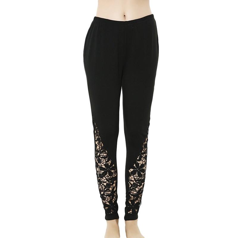 Celana Legging Panjang Wanita Sexy Casual Bahan Lace Motif Bunga Warna Hitam Untuk Yoga Fitness Shopee Indonesia