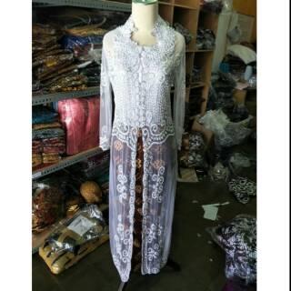 Baju Kebaya Putih Panjang Payet Pakaian Akad Nikah Pengantin Jawa