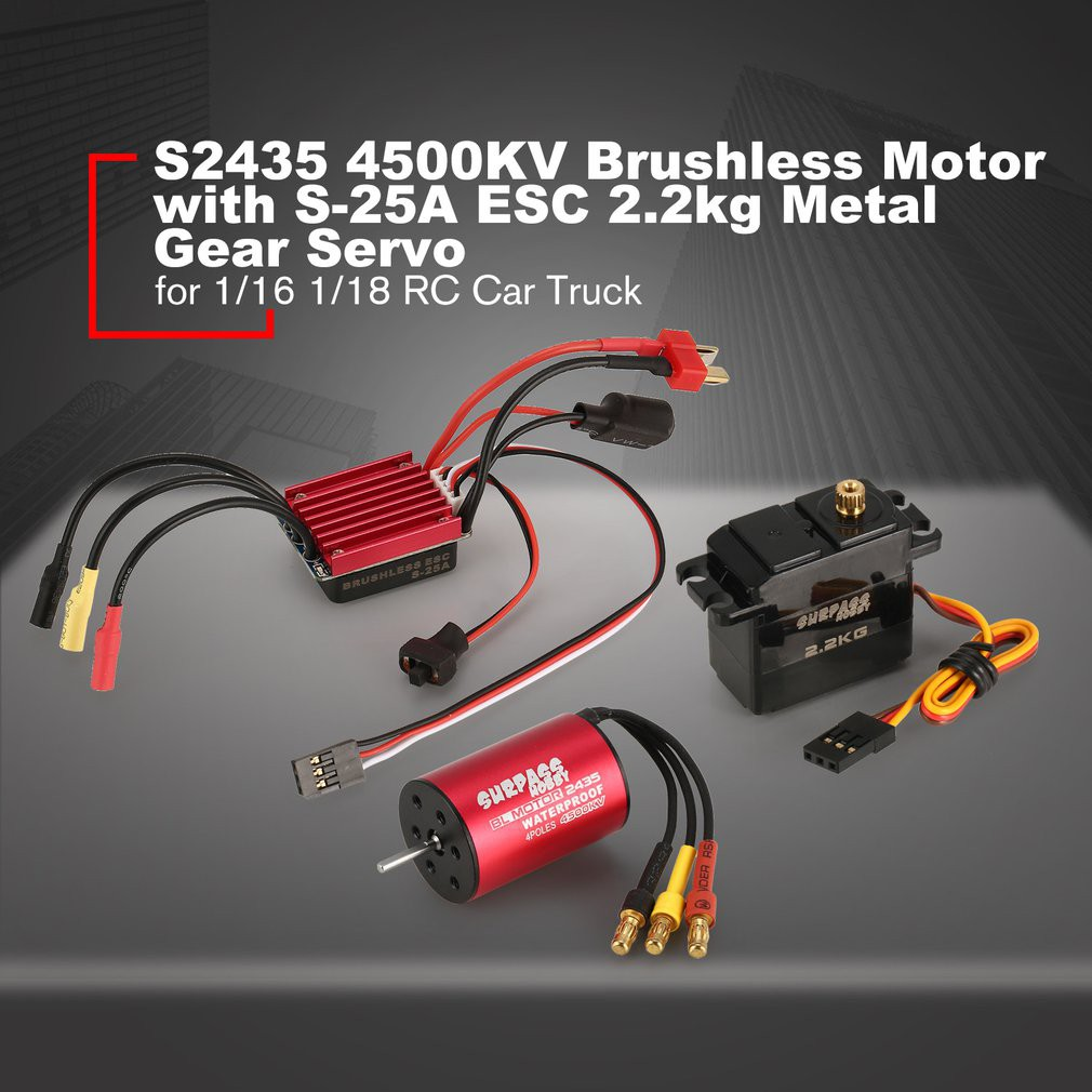 RC Brushless 2435 4500KV Motor w// Brushless 25A ESC for 1//16 1//18 RC Buggy