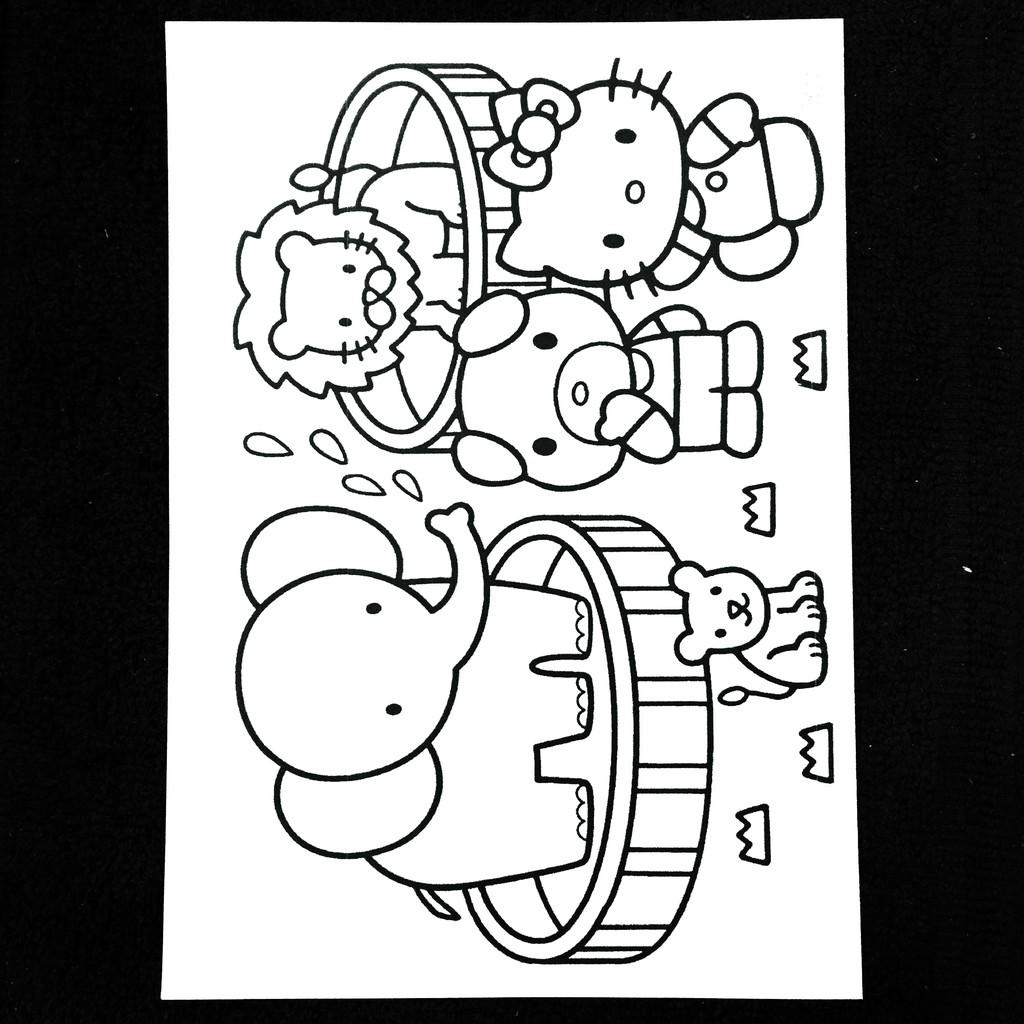 [Uk A6 100 Pcs] Kertas Mewarnai Gambar Karakter Kartun Aktivitas Coloring Book Anak TK PAUD