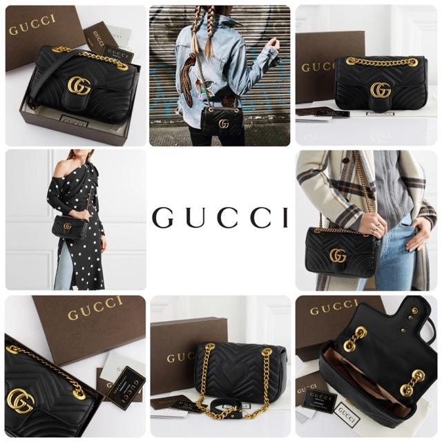 625d9e9596f4 GUCCI Marmont Matelasse Belt Bag-Black #94457 ||Tas Wanita Cantik|Tas  Import Murah | Shopee Indonesia