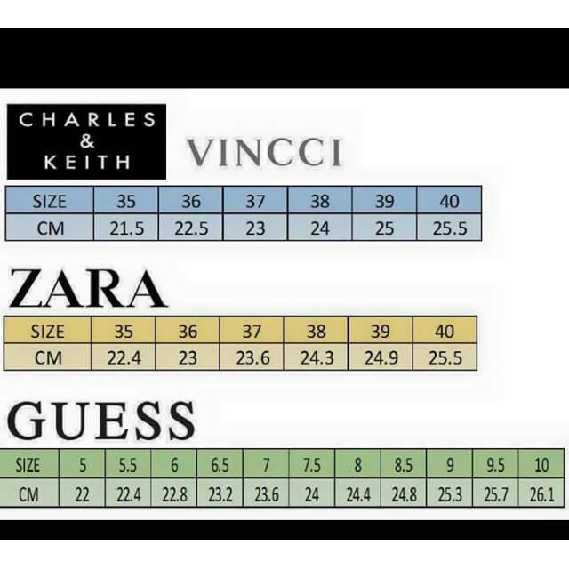 Size Chart Footwear Zara Wakai Dll Shopee Indonesia