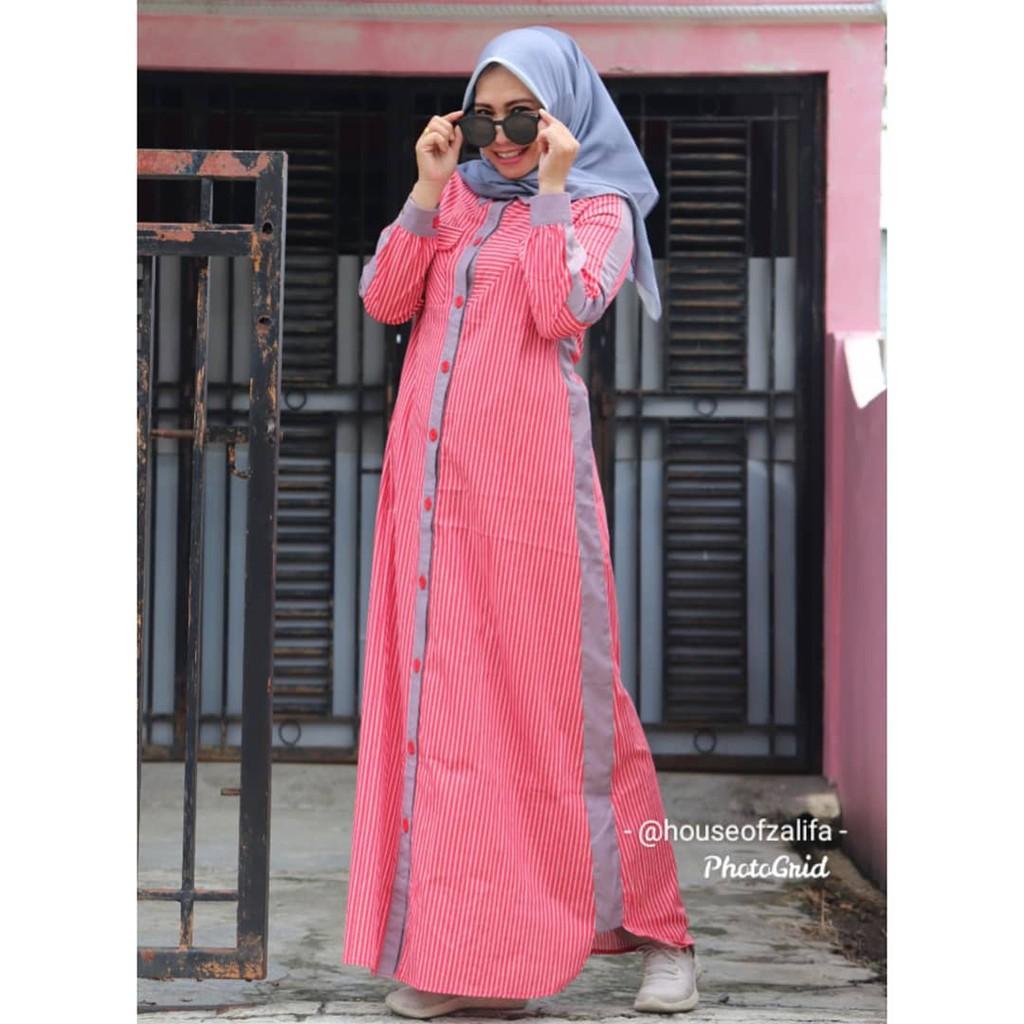 Baju Muslim Wanita - Dress Aliya - Gamis Zalifa - Merah list Abu