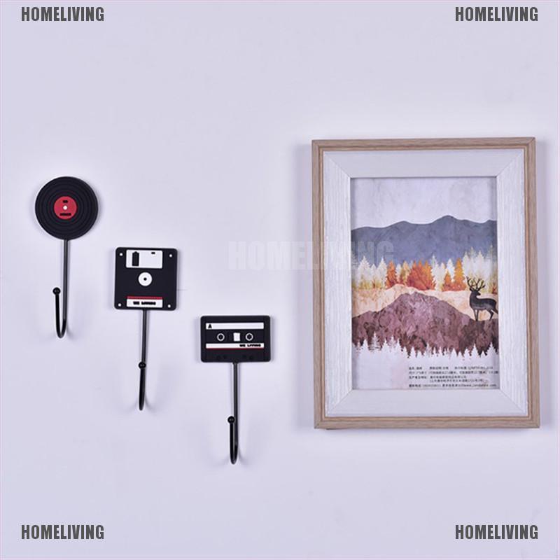 Homeliving Home Decor Retro Tape Disk Hanger Decorative Wall Hooks Coat Key Holder Ra Shopee Indonesia