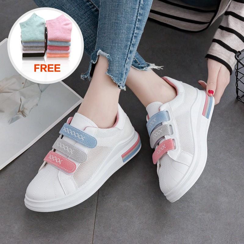Sepatu Kasual untuk Wanita Warna Putih Casual Breathable Mesh Velcro Women Shoes