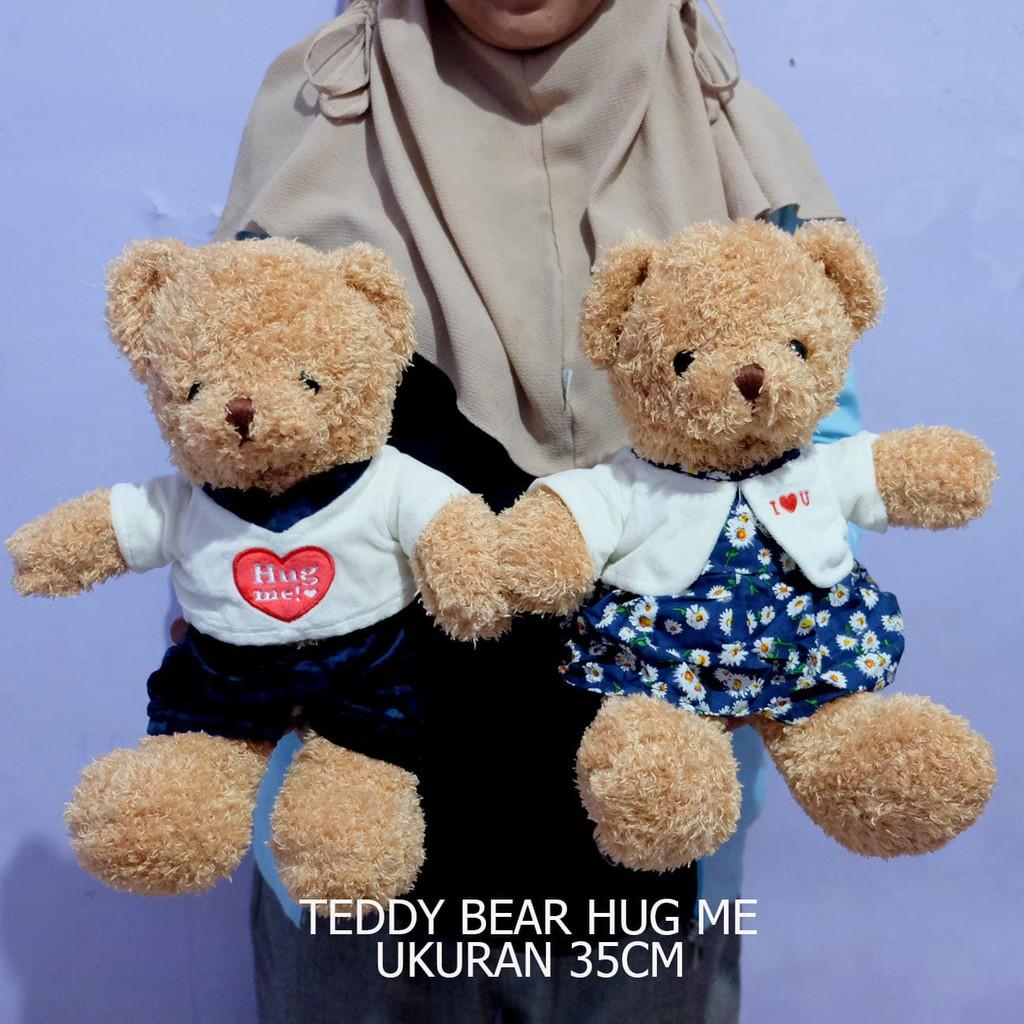 Boneka teddy bear hug me impor harga satuan bear beruang lovely bear teddy bear couple souvenir | Shopee Indonesia