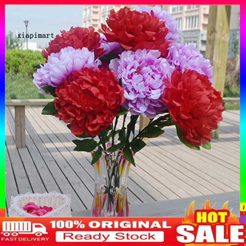 Ready Stock 15cm Large Artificial Peony Cloth Flower Home Party Decor 5 Flowers On 1 Piece Shopee Indonesia