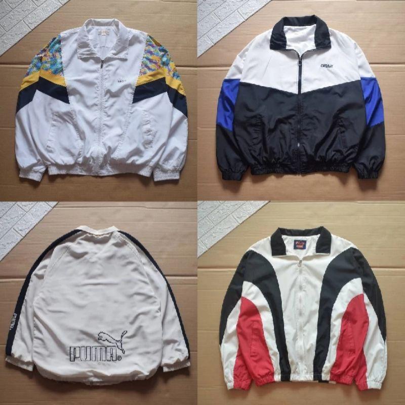 thrift shop windbreaker vintage/ windbreaker colorblok / jaket vintage / jaket colorblok / jaket thrift ellesse / jaket flanel