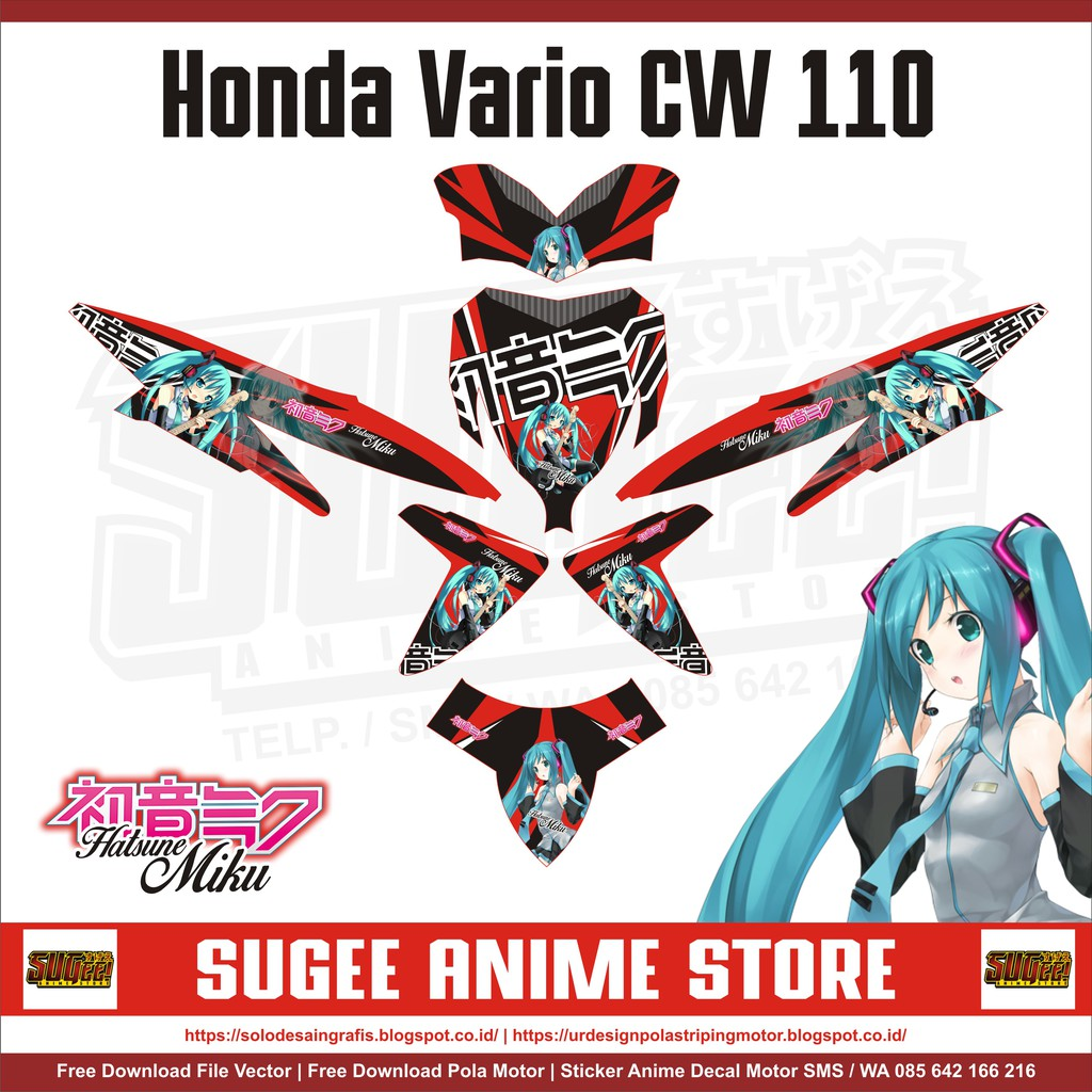 Sticker anime decal motor honda vario cw 110 miku shopee indonesia