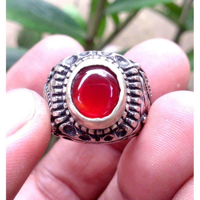 Cincin Batu Akik RED BARON CARNELIAN Chalsedony asli batu bukn sintetis yaman kecubung bacan