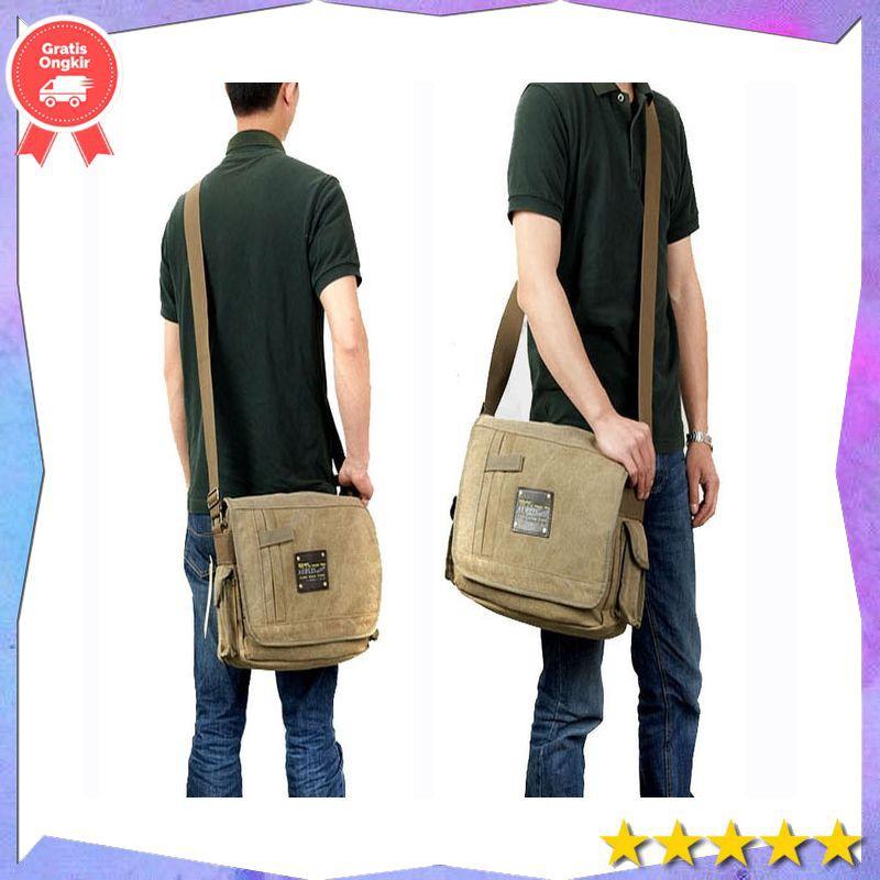 sling bag Military Messenger Bags Men's Travel Canvas Shoulder Bag  Crossbody Top-handle Bags | Shopee Indonesia