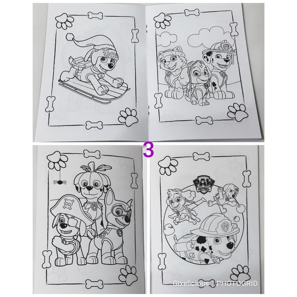Buku Mewarnai Coloring Book Suvenir Ultah Paw Patrol PJ Mask Pororo