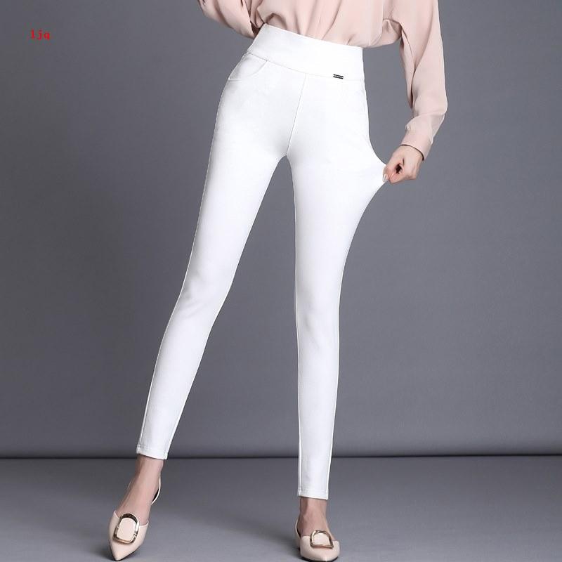 Celana Legging Panjang Casual Model High Waist Warna Putih Bahan Tipis Elastis Untuk Wanita Shopee Indonesia