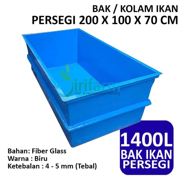 Jir447 Bak Kolam Ikan Persegi 200 X 100 X 70 Cm Fiber Tebal