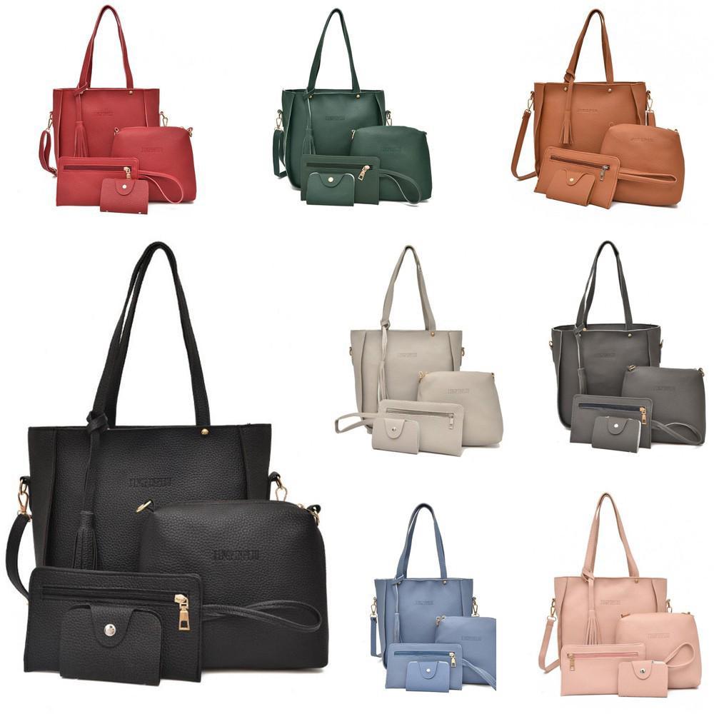 Set 4Pcs Tas Handbag + Selempang / Bahu + Clutch + Dompet Holder Kartu Bahan Kulit PU untuk Wanita