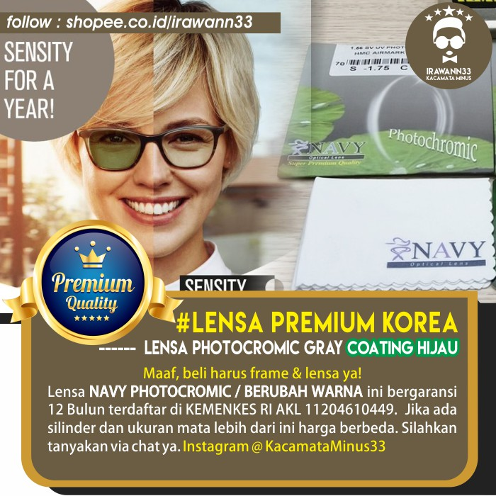 Biaya Penambahan Lensa Photocromic Photogrey Minus Plus Berubah Warna Hitam  Otomatis - Kacamata  06b4e05eec