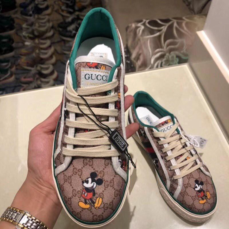 Gucci Sepatu Sneakers Flat Casual Motif Mickey Mouse Untuk