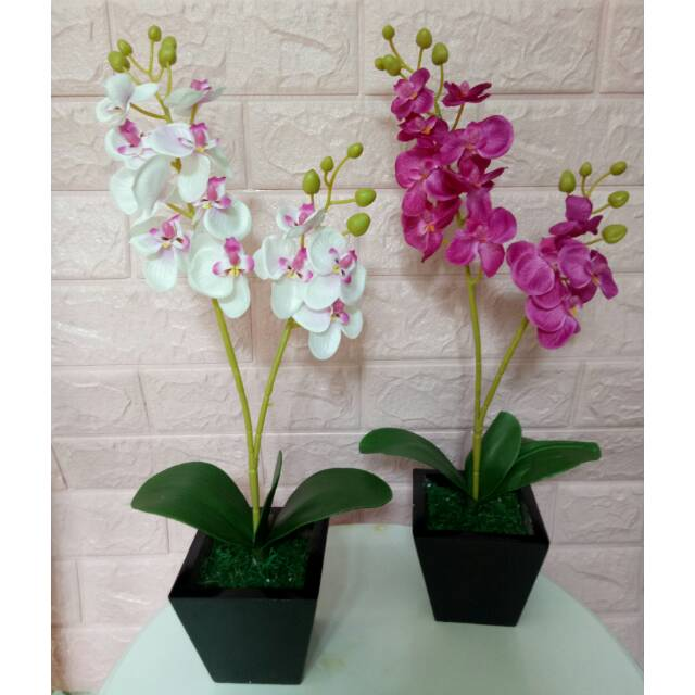 Rangkaian Bunga Anggrek Artificial Dengan Pot Kayu Shopee Indonesia