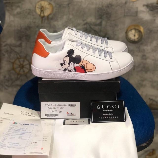 Sepatu Wanita Gucci Ace Sneaker X Disney Mickey Mouse Print