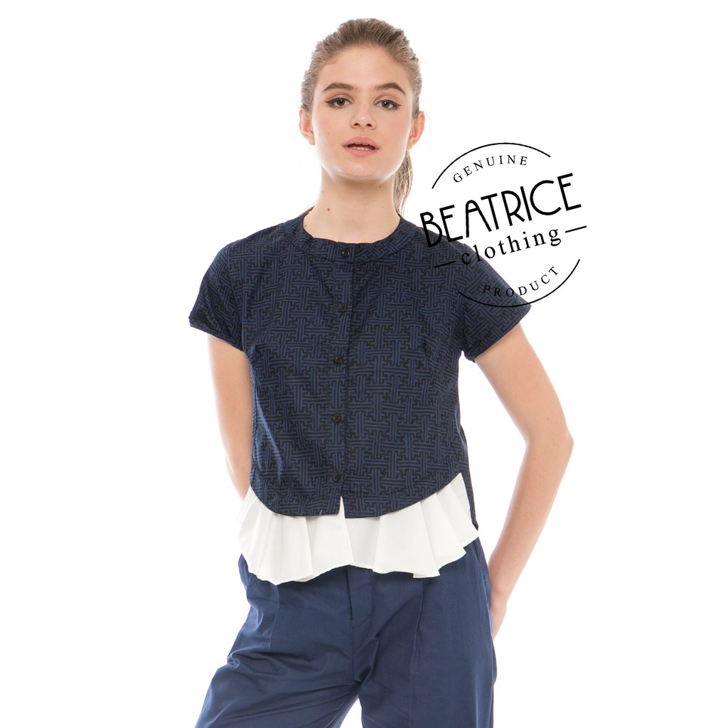Beatrice Clothing Blouse Wanita Krillo Top In Navy Shopee Indonesia Alila Culottes Benji Red