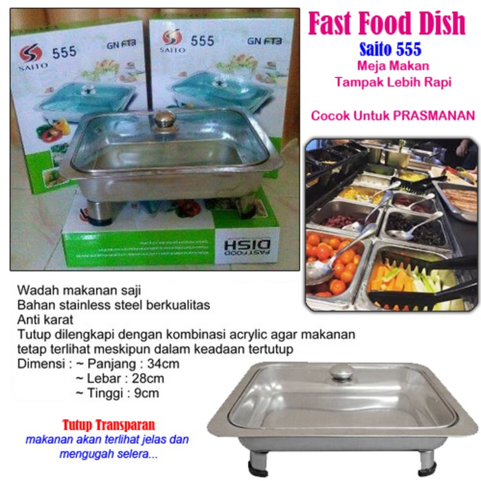 Fast Food Dish Saito 555 : tempat wadah prasmanan stainless steel : Fast Food Dish Murah | Shopee Indonesia