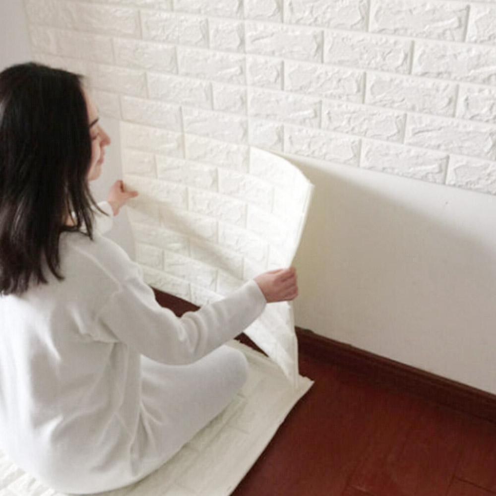 Stiker Wallpaper Dinding 3D Motif Batu Bata Warna Putih