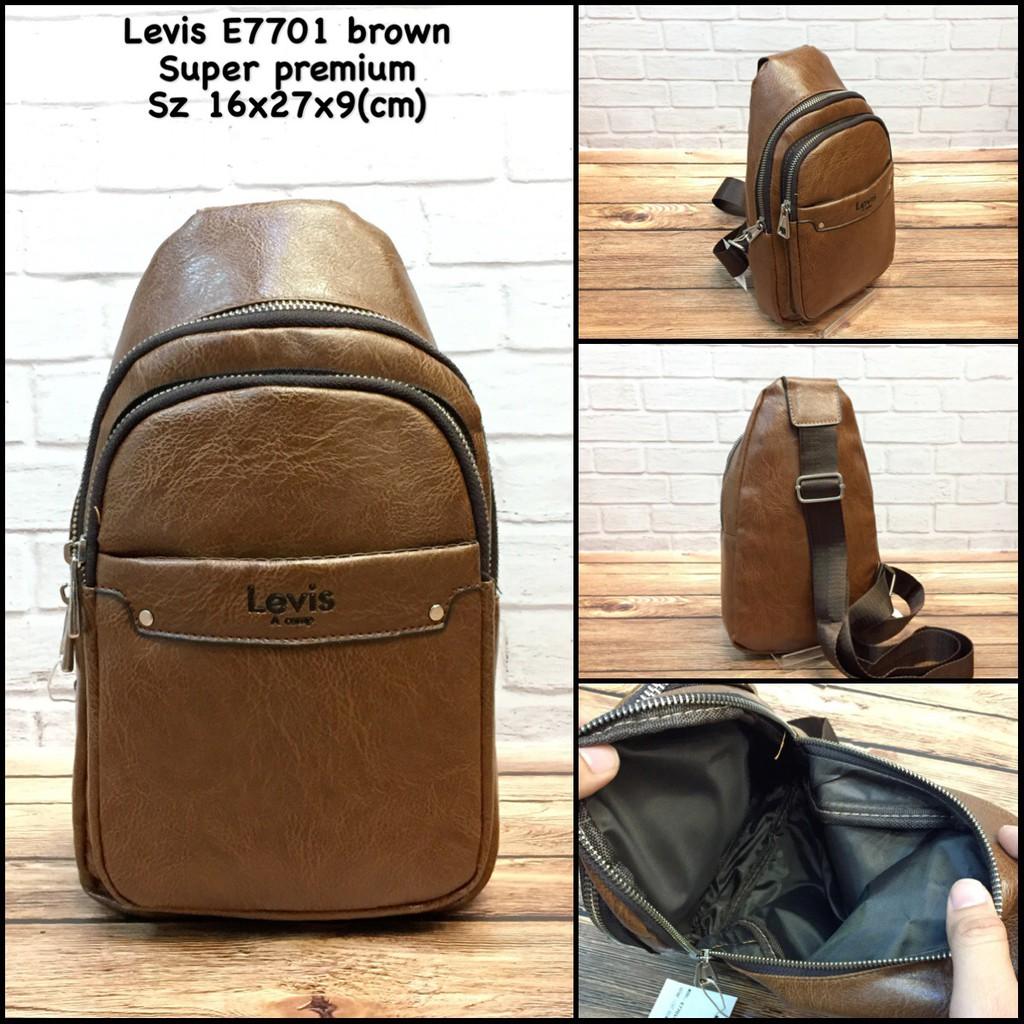 tas pria levis 634 darkbrown super premium tas cowok tas kulit tas slingbag tas  murah tas import  557b13c62d