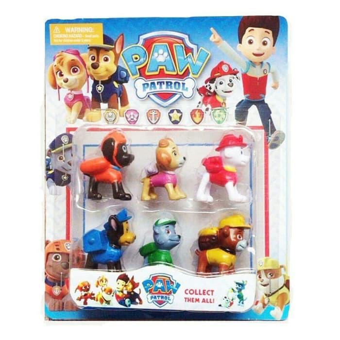 figure paw patrol isi 6 pcs international mainan anak paw
