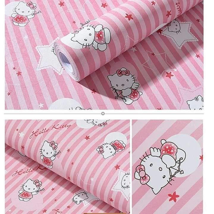 Wallpaper Sticker Hello Kitty Pink Line Dekorasi Kamar Tidur Anak Dinding Rumah Shabby Shopee Indonesia
