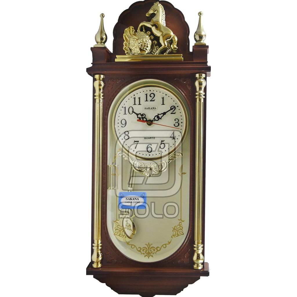 Clock Jam Dinding Rumah Kotak Sakana 329 Jam Bandul Lonceng Cokelat  d7cdf45718