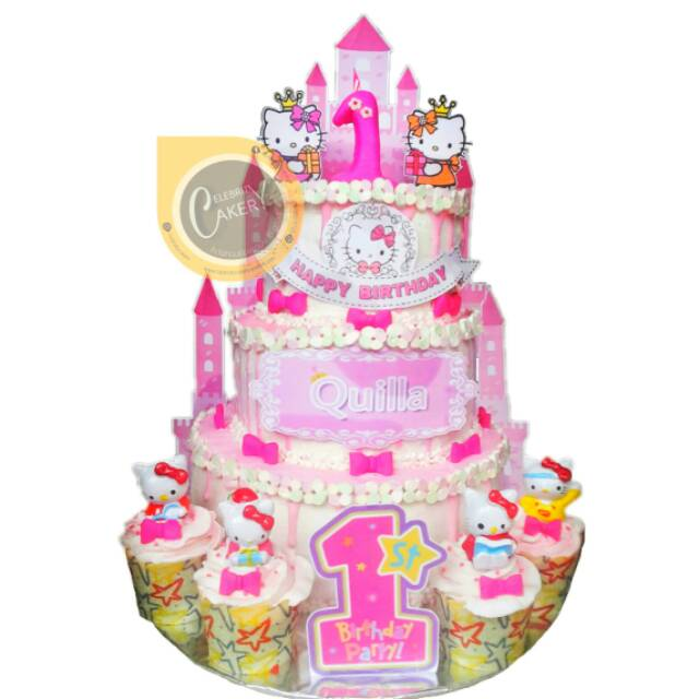 Kue Ultah Ulang Tahun 3 Tier Hello Kitty Figurine Buttercream Mix Fondant Cake