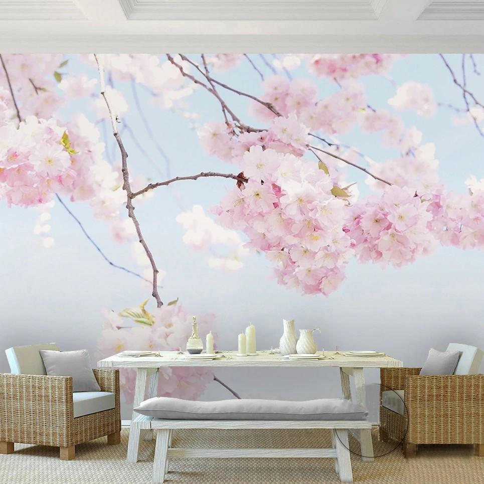 TERBARU & FREE ONGKIR Foto Kustom Wallpaper Bunga Sakura Yang Indah Bunga Mural Dinding Latar