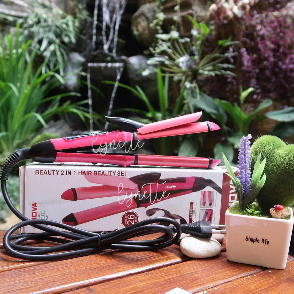 Big Nova 2 In 1 Catokan Rambut Hair Curler Straightener Shopee 2in1 Curly Indonesia